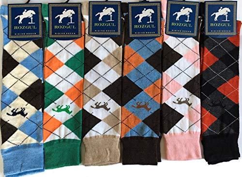 Rozgul® Kniehohe Reitstiefel-Socken mit Argyle-Muster aus Baumwolle für Damen, 6 Paar
