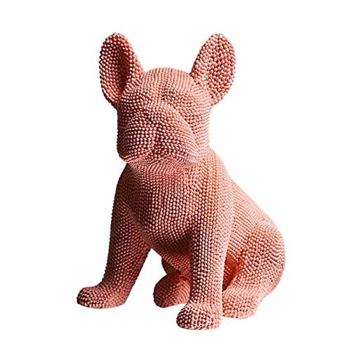 FLAMEER Art French Bulldog Statue Ornament Granule in stile europeo per Office Store Present - rosa