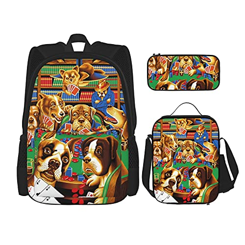 Mochila escolar Set Durable aislado bolsa de almuerzo estuche para niños niños bolsa de escuela, Dogs Playing Poker Cards Library - Juego de cartas de póquer, Talla única