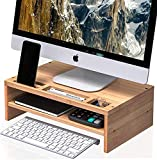WELL WENG Bambú Elevador del Monitor con Ranura Soporte para Monitor Ordenador L40xW25
