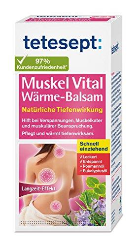 tetesept Muskel Vital Wärme-Balsam – Wärmender Pflegebalsam zur äußeren Anwendung mit ätherischen Ölen - hilft bei Verspannungen, Muskelkater und muskulärer Beanspruchung – 1 x 100 ml Tube