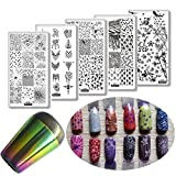 5pcs Star Curve Line Style Nail Stamping Plates Tassel Pendant Panda Flower Nail Template Stencils Sports Theme Nail Art Stamp Image Plate + Rainbow Silicone Nail Stamper Set