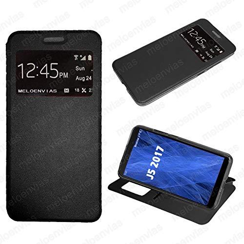 Meloenvias Funda Carcasa Tipo Libro con Funcion Soporte para Samsung Galaxy J5 2017 Cuero Cierre de iman con Ventana S-View Color Negro