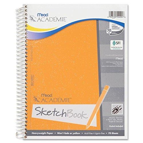 Mead 54404 Wirebound Sketch Book, w/Pockets, 11'x8-1/2', 70 Sheets