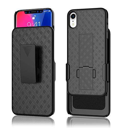 iPhone 8/7/6/6s Holster Case, Galaxy Wireless Combo Shell & Holster Case - Super Slim Shell Case with Built-in Kickstand, Swivel Belt Clip Holster Compatible for Apple iPhone 8, 7, 6, 6s Case - Black