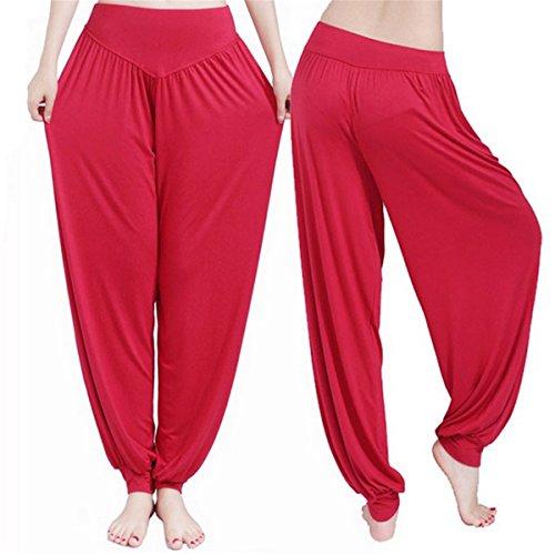 ECYC Frauen Red Yoga Hosen Tanz Taichi Länge Bloomers No Shrink
