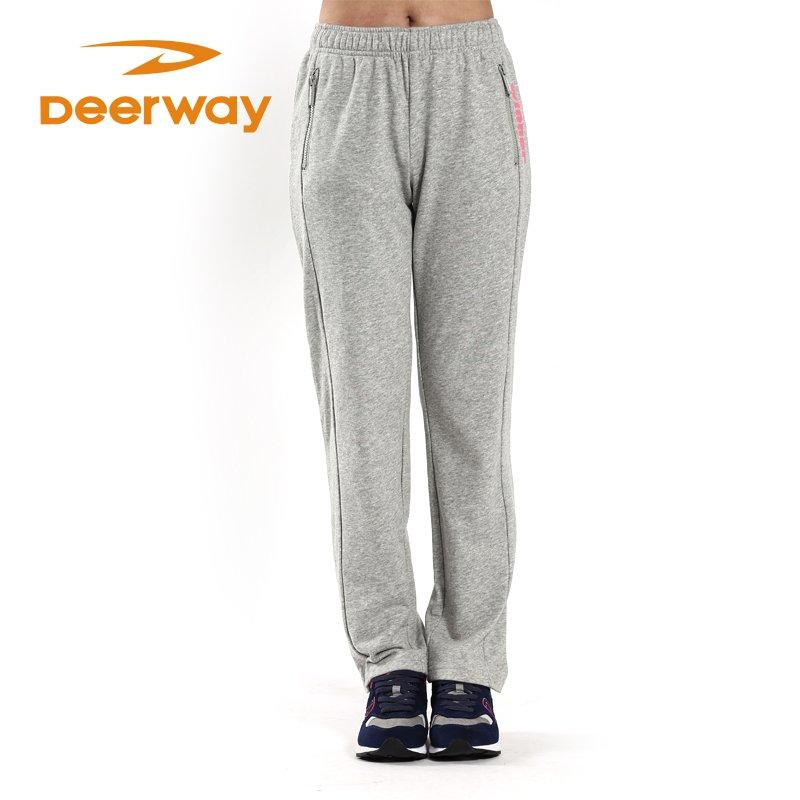 Deerway 德尔惠 女裤春季新款女装运动针织长裤休闲运动裤子跑步下装潮