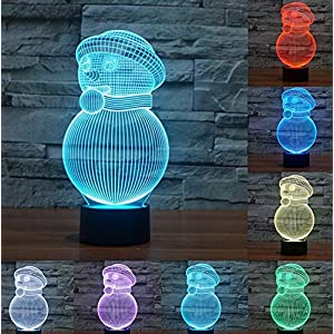 3D Optical Illusion Christmas Snowman Lamps,Threetoo 7 Color Changing Touch Switch Night Lights with Acrylic Flat & ABS Base for Home Decor or Christmas Gifts (Snowman)