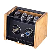 Watch Winder Made of Premium Natural Bamboo Shell for 6 Automatic Watches with High-Gloss Craftsmanship, 4 Setting Modes and Super Quiet Motor, Built-in Lock (Bamboo)