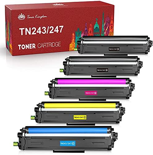 Toner Kingdom Cartucho de Tóner Compatibile Repuesto para Brother TN247 TN243 para HL-L3210CW HL-L3230CDW HL-L3270CDW MFC-L3710CW MFC-L3730CDN MFC-L3750CDW MFC-L3770CDW DCP-L3510CDW (5 Paquete)