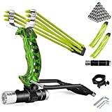 NOBONDO Strong Folding Slingshot - Powerful Adjustable Slingshot Rocket with Wrist Brace Hunting Survival Catapult with 2 Rubber Bands and 100 Ammo Balls