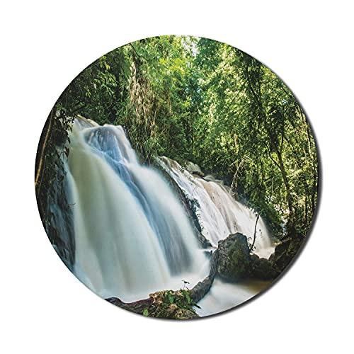 Exotisches blaues Mauspad für Computer, malerisch von Agua Azul Wasserfällen Chiapas Mexiko Streaming-Wassereffekt, rundes rutschfestes dickes Gummi-modernes Gaming-Mousepad, 8 'rund, mehrfarbig