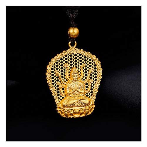Buda Colgante Collar Amuleto De Bodhisattva/Talismán Hecho De 100% Oro Puro Oro Amarillo De 24 K Multa Joyería