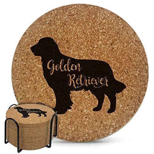 Posavasos Golden Retriever de Corcho Natural para Bebidas Absorbente, 10cm 6pc Conjunto con Sujetador de Metal-9mm Grosor, Resistente a Calor y Agua, Decoración Perfecta para Amantes de Perros