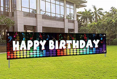 Giant Happy Birthday Banner Birthday Yard Sign with Hole TIK TOK Birthday Party Decorations for Girls Boys Musical Themed Party Outdoor Birthday Banner for Women Men