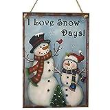 Tinksky Adornos de Navidad en Madera Decoracion Navidad Muñeco de Nieve Placa...