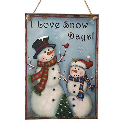 Tinksky Adornos de Navidad en Madera Decoracion Navidad Muñeco de Nieve Placa Decorativa Vintage Retro - I Love Snow Days