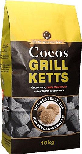 Cocos Grillketts Premium Grillbriketts aus Kokos-Kohle - 10kg - extra Lange Brenndauer - ideal für Dutch Oven, Smoker und Kugelgrill