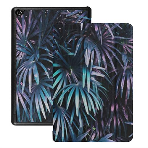 Case for Fire Hd 8 Tablet (2018/2017/2016 Release), Tropical Leaf Forest Glow Dark Background Case Cover with Auto Wake/Sleep