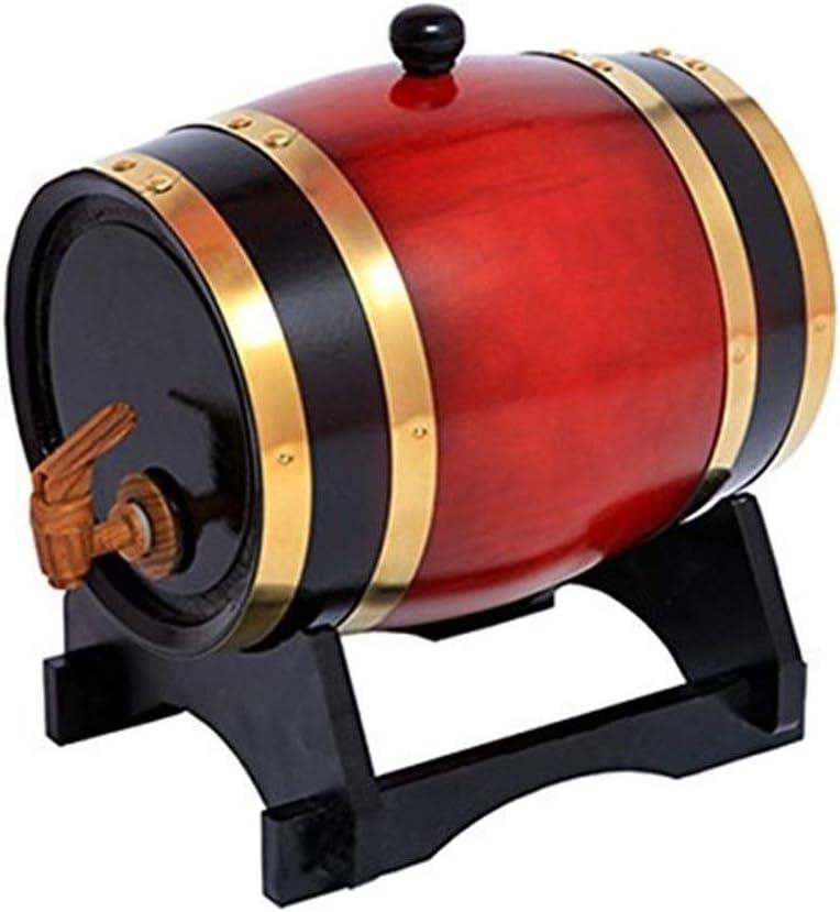 Barril de Roble Dispensador De Madera De Barril De Vino De Roble De 1.5L Dispensador De Vino Cerveza De Vinagre De Whisky De Almacenamiento Construido En Papel De Aluminio Forro ( Color : Wine red )
