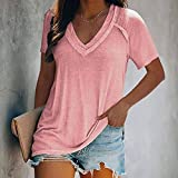 Momyeah Manga Corta Camiseta de Mujer de Verano de Manga Corta con Cuello en V Blusa de Color sólido Suelta Informal al Aire Libre para Mujer, Adecuada para Muchas Ocasiones, Rosa, 5XL