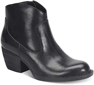 Womens Carmel Booties Leather Almond Toe Ankle Cowboy, Black, Size 11.0