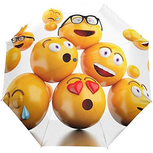 Auto Open Close Umbrella 3D Emojis Emoticons 3 Pliegues Automático Anti-UV Travel Umbrella