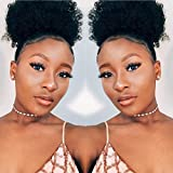 Synthetic Short Afro Ponytails for Black Hair YEBO African American Curly Pony Tail Hair Pieces(1B)