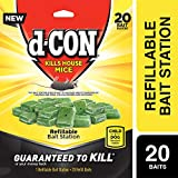 d-Con Corner Fit Mouse Poison Bait Station with 1 Trap and Bait Refills, Plain, 20 Count