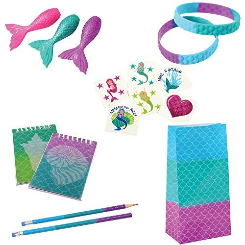 Mermaid Party Favor Toy Bundle 96 Pieces for 12 Bracelets Notepads Pencils Tattoos