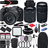 Canon EOS RP with RF 24-105mm f/4-7.1 is STM Lens Mirrorless Camera Bundle + EF 75-300 is III, EF-EOS RP Mount Adapter, V30 Microphone, LED Light, Extra Battery and Accessories(Backpack and More)
