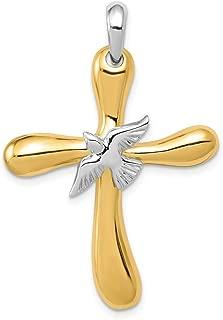 Million Charms 14K Two-tone Gold Religious Hollow Polish Crucifix 15 X 35mm