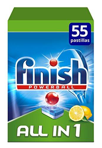Finish Powerball All in 1 Original - Pastillas para el Lavavajillas todo en 1, Fragancia Limón, Formato 55 Unidades