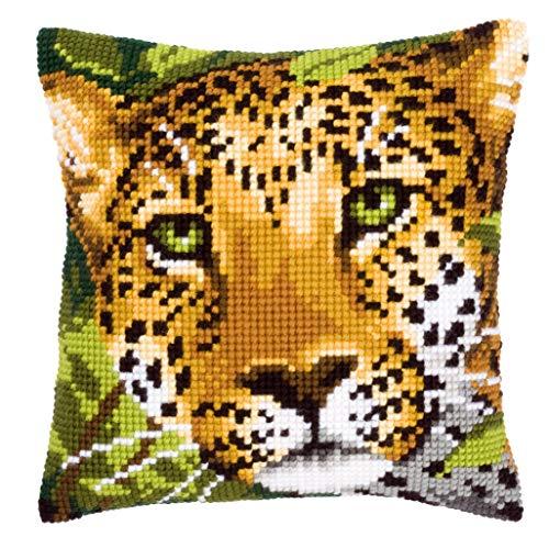 Vervaco Leopard Kreuzstichkissen/Stickkissen vorgedruckt, Baumwolle, Mehrfarbig, 40 x 40 x 0.3 cm