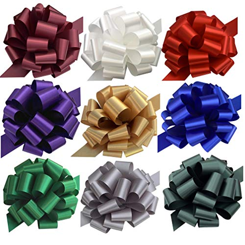 Large Assorted Gift Pull Bows - 9' Wide, Set of 9, Red, Green, Blue, White, Bows for Gifts, Easter, Christmas Presents, Boxing Day, Hanukkah, Birthday, Gift Baskets