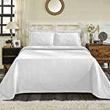 Superior 100% Cotton Basket Weave Bedspread with Shams, All-Season Premium Cotton Matelassé Jacquard Bedding, Quilted-look Geometric Basket Pattern - King, White