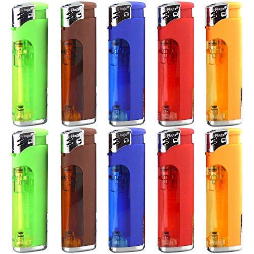 10 Pack Refillable Butane Cigarette Lighter with LED Flashlight