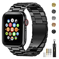 Compability: Luxurious replacement band for Apple watch all Series 5/4/3/2/1. Choose your size, 38mm/40mm or 42mm/44mm two size options. Material: Made of high quality stainless steel, with upgraded stronger durable double buckle. Beautiful design, e...