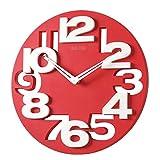WINOMO Novità traforate 3D grandi cifre cucina Home Office Decor tondo orologio da parete a forma di orologio Art (rosso)