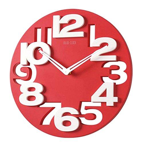 orologio da parete rosso WINOMO Novità traforate 3D grandi cifre cucina Home Office Decor tondo orologio da parete a forma di orologio Art (rosso)
