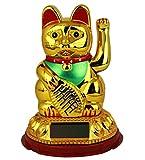 HAAC Solar Winkekatze Katze GLÜCKSKATZE Glücksbringer 13 cm Farbe gold / rot