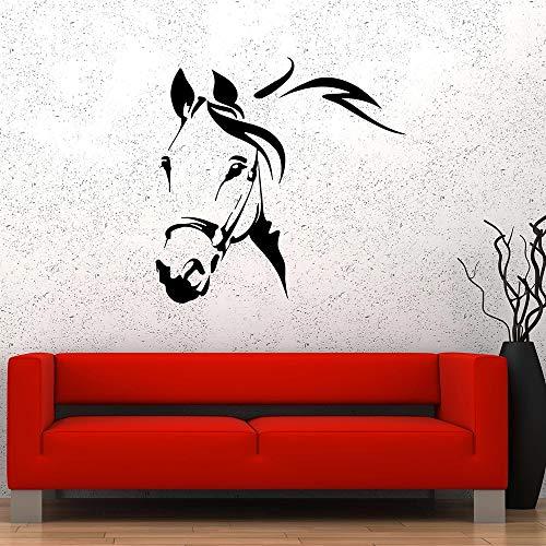Opprxg Sala de Estar Animal Caballo Silueta Pared calcomanía Dormitorio Aula Art Deco Mural 57x57cm