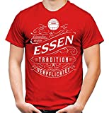 Mein Leben Essen Männer und Herren T-Shirt | Fussball Ultras Geschenk | M1 Front (XL, Rot)