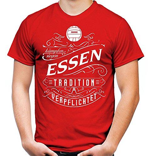 Mein Leben Essen Männer und Herren T-Shirt | Fussball Ultras Geschenk | M1 Front (XXL, Rot)