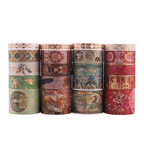 Lychii Washi Tape Set, 20 Rollen Goldene Foliendruck Masking Tapes, Multi-Pattern Dekoratives Klebeband Kollektion für Kunst und Heimwerker, verschönern Bullet Journals, Planer, Scrapbooking
