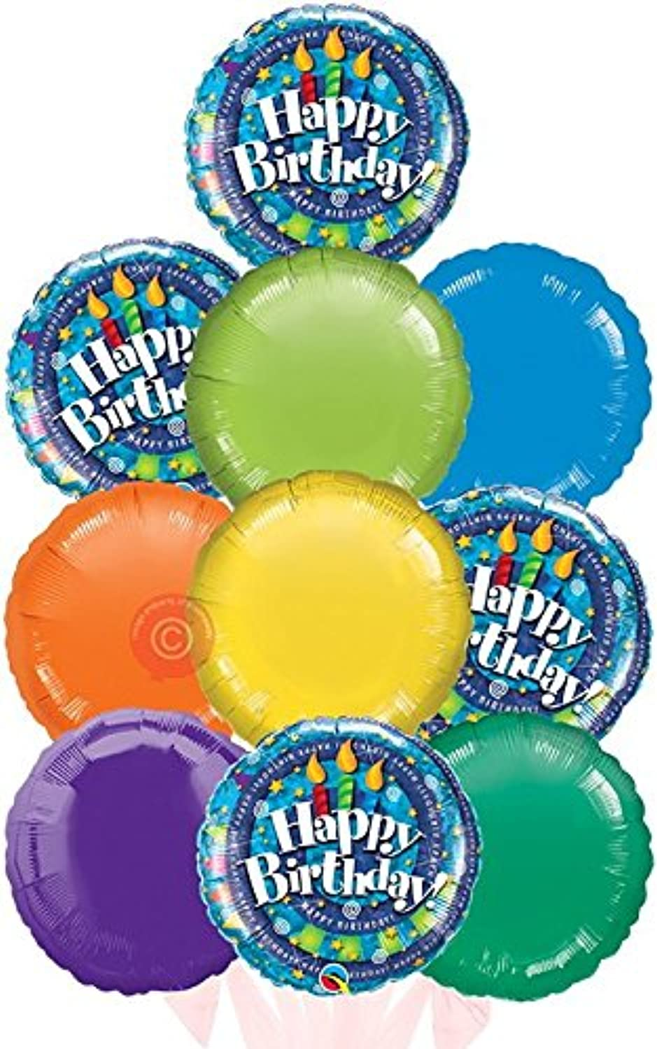Happy Birthday Spiral and Candles  Inflated Birthday Helium Balloon Delivered in a Box  Biggest Bouquet  10 Balloons  Bloonaway