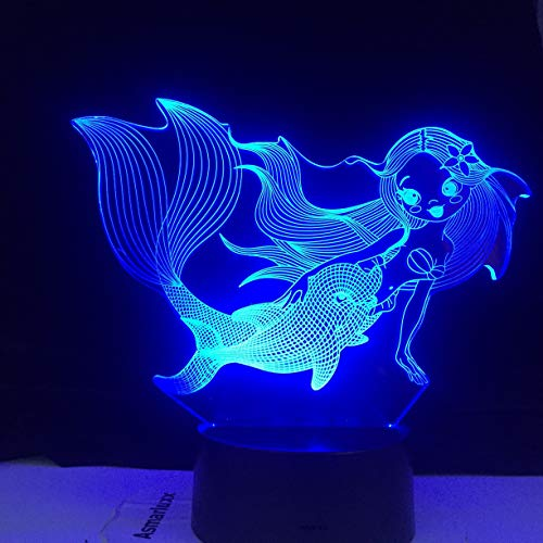 The Little Mermaid Princess 3D Drawing LED Night Light Multicolor Night Light Room Decoration Table lamp