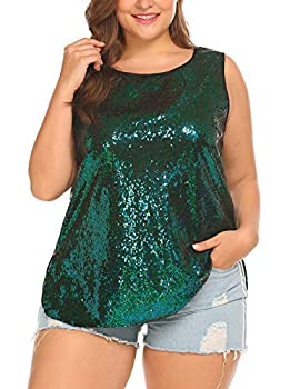 IN VOLAND Women s Sequin Tops Plus Size Glitter Tank Top Sleeveless Sparkle Shimmer Shirt Tops Camisole Vest Green