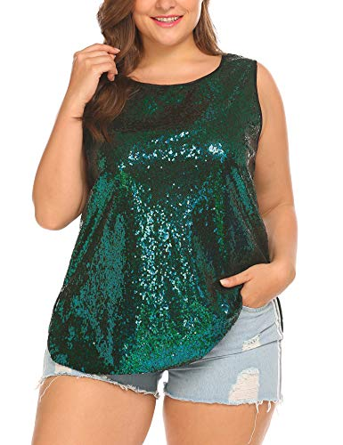 IN'VOLAND Women's Sequin Tops Plus Size Glitter Tank Top Sleeveless Sparkle Shimmer Shirt Tops Camisole Vest Green