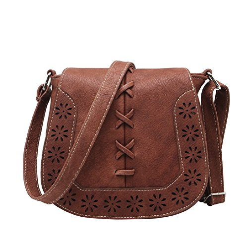 MiCoolker Vintage Bohemian Hippie Lace Up Hollow Flap Fringe Tassel Crossbody Shoulder Bag Pouch Purse Handbag Messenger Bag (Friar Brown)
